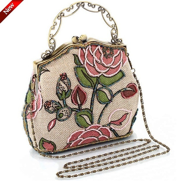 Retro lady mini handbag embroidery women Shoulder Messenger Bags small clutches evening bag for girls,Bronze hand party bag(China (Mainland))