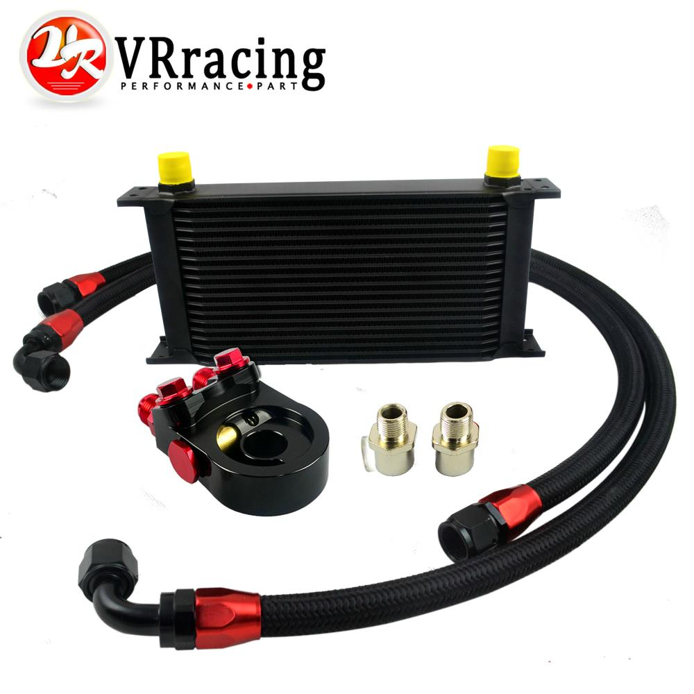 VR Universal 19ROWS OIL COOLER ENGINE KIT AN10 oil Sandwich Plate Adapte with Thermostat 2PCS NYLON