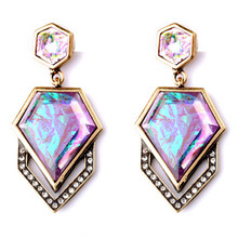 Fashion Accessories Earrings Vintage Rhombus Shiny Drop Earrings For Women 2016 New Arrival Brand Jewelry(China (Mainland))