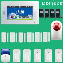 Smart 7 Inch Touch Screen Wireless GSM Alarm System Security Home Burglar Intelligent 868MHz, Wireless outdoor Flash Siren