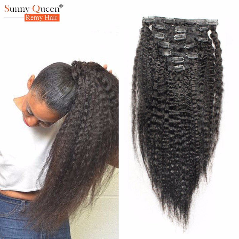 Peruvian Virgin Hair Kinky Straight Clip Ins Human Hair Extensions African American Clip In Human Hair Extension For Black Woman