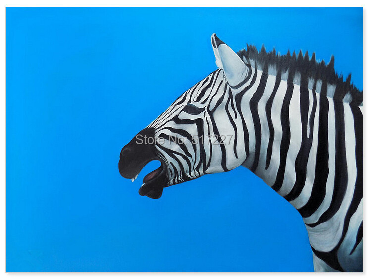 Free shipping handpainted modern animal zebra oil