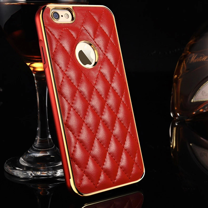 Genuine Leather Lattice Style Back Cover with Aluminum Metal Frame Luxury Case For Iphone 6 Plus 5.5 inch(China (Mainland))