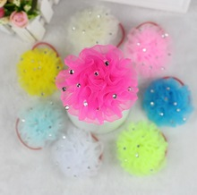 TS 2pcs Free Shipping Fashion Baby girl hair accessories flower hair rubber  ornaments children barrette hair styling Headwear