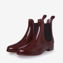 Weiblichen Frühling Stiefeletten Elastische Band Slip Auf Low Heels Ankle Regen Stiefel Frauen Gummi Wasserdicht Nicht-slip Plattform damen Schuhe(China)