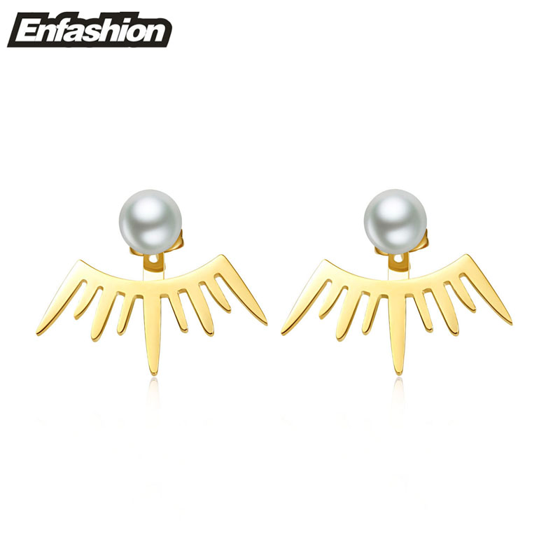Flame earrings ear cuff pearl ear studs 18K rose gold plated stud earrings stainless steel earrings fashion jewelry wholesale(China (Mainland))