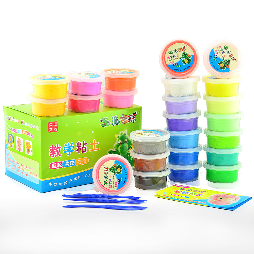 24 plasticine set ultra-light clay color clay space 3d dough paper clay(China (Mainland))