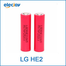 Nuevo lg icr18650he2 genuino 2500 mah li-ion 18650 recargable he2 baterías 30a para cigarrillo electrónico el envío libre