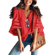 V Pescoço Queimado Mangas Malha Patchwork Camisas de Verão Plus Size Casuais Solta Malha Mulheres Blusa Rosa Rua Das Mulheres Tops Blusas 5XL(China)