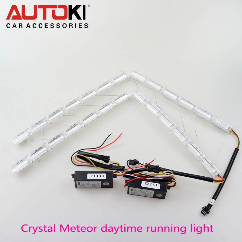 Free Shipping Universal Crystal Meteor Dual Color LED Flexible DRL with Turn Signal Light White + Yellow meteor(China (Mainland))