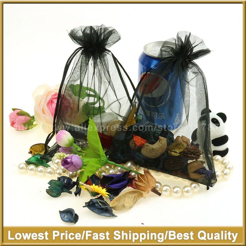 15x20cm Black Customize Organza Jewelry Bags Decoration Gift Bags Bolsas Organza 100pcs Organza Sachet 100pcs/lot Wholesale(China (Mainland))