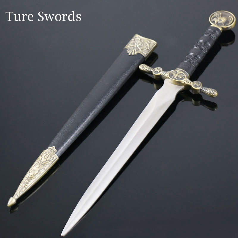 True Swords Medieval Excalibur Sword Claymore Vintage Home Decor Metal Exquisite Gifts Stainless Steel Small Sword  Zwaard A9772