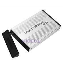 NI5L 3.5 inch Silver USB 2.0 SATA External HDD HD Hard Drive Enclosure Case Box(China (Mainland))