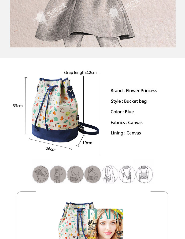 Flower Princess Brand Women Spanish Canvas Bucket String Shoulder Bag Girl Fashion School Bag Female Messenger Bags Bolso BX001