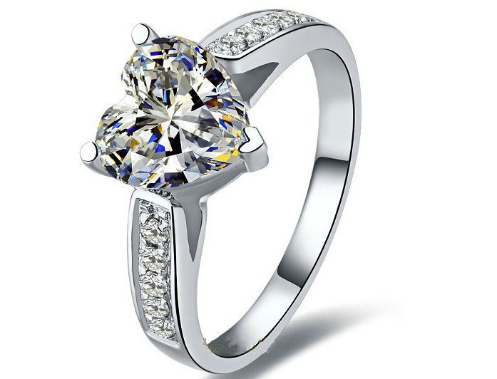 Promise Love Solid 18K White Gold Au750 Women Wedding Ring 1CT Synthetic Diamond Micro Pave Hand Made Ring LC Stone Last Forever(China (Mainland))