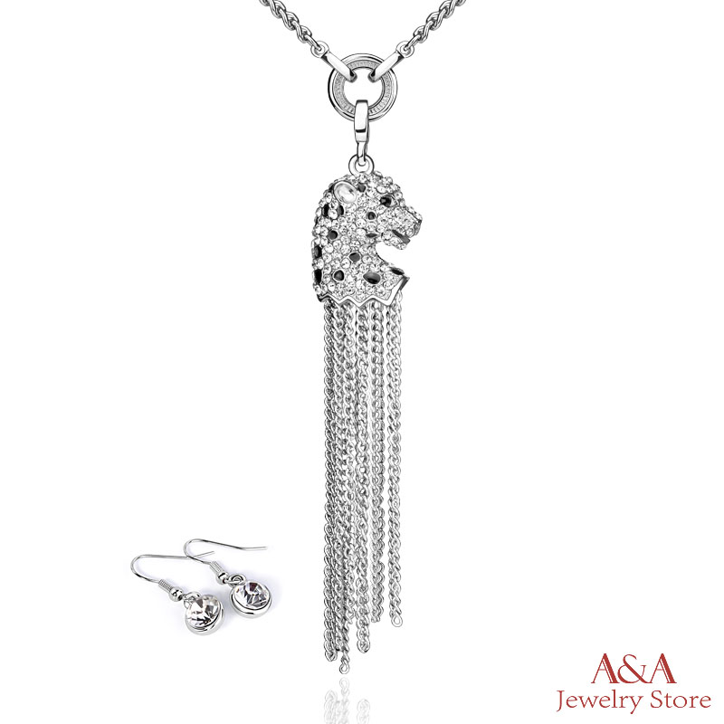 Brightly Long Tassel Necklaces Classic Silver Plated Full Rhinestones Leopard Head Pendants Necklaces for Women(China (Mainland))