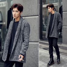 Male fashion no button design short woolen overcoat grey slim all-match trench outerwear coat(China (Mainland))