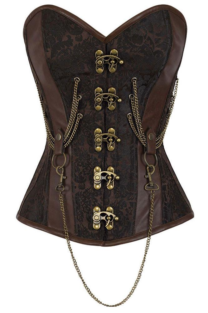 2016 Hourglass Chained Brown Steampunk Corset Espartilhos E Corpetes LC50014 hot 14 Steel Bone Steel Bone Overbust Corset(China (Mainland))