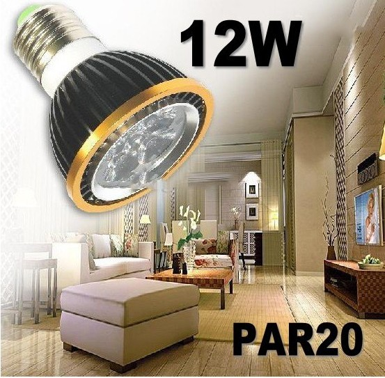 10pcs/lot Par20 Led Lamp E27 Spotlight Par 20 4X3W 12W Dimmable Led Lighting warm/cool/white(China (Mainland))