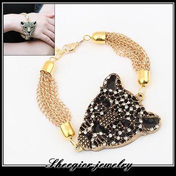 Fashion shiny rhinestone leopard head Bracelets bangles gold chain leopard jewelry with long tassel bracelet women accessories