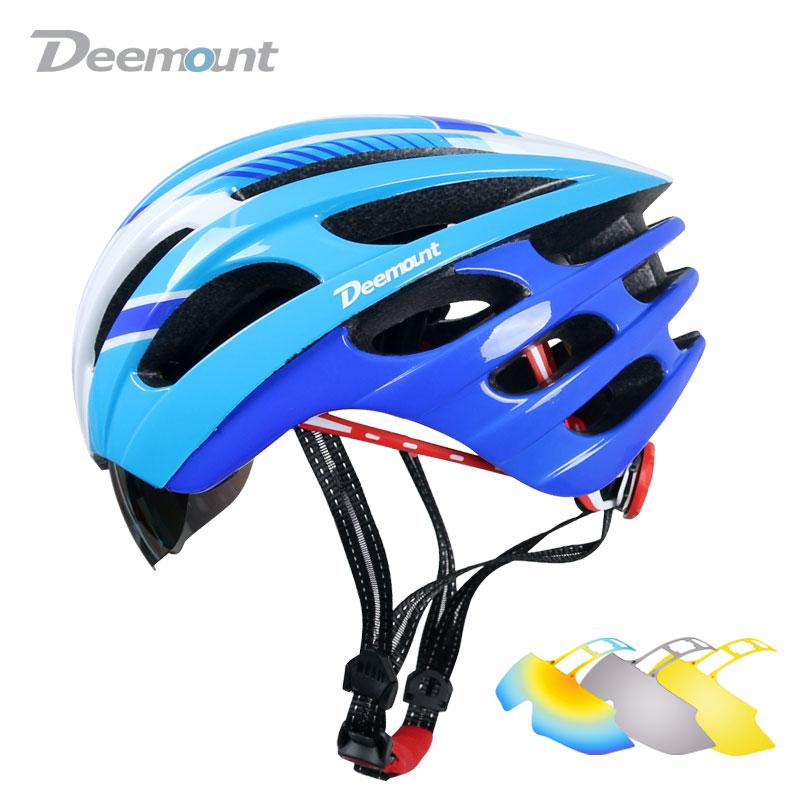 Deemount Women Men's MTB Bicycle Helmet Mountain Road Bike Cycling Helmet Safety Cap Goggle Lens Mesh Net In-mold 27 Air Vents(China (Mainland))