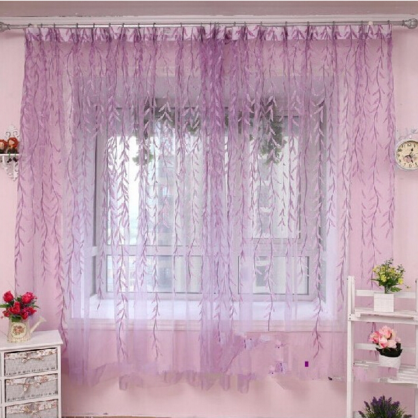 Rustic curtain yarn custom made window screening green purple willow sheer curtains for bedroom(China (Mainland))