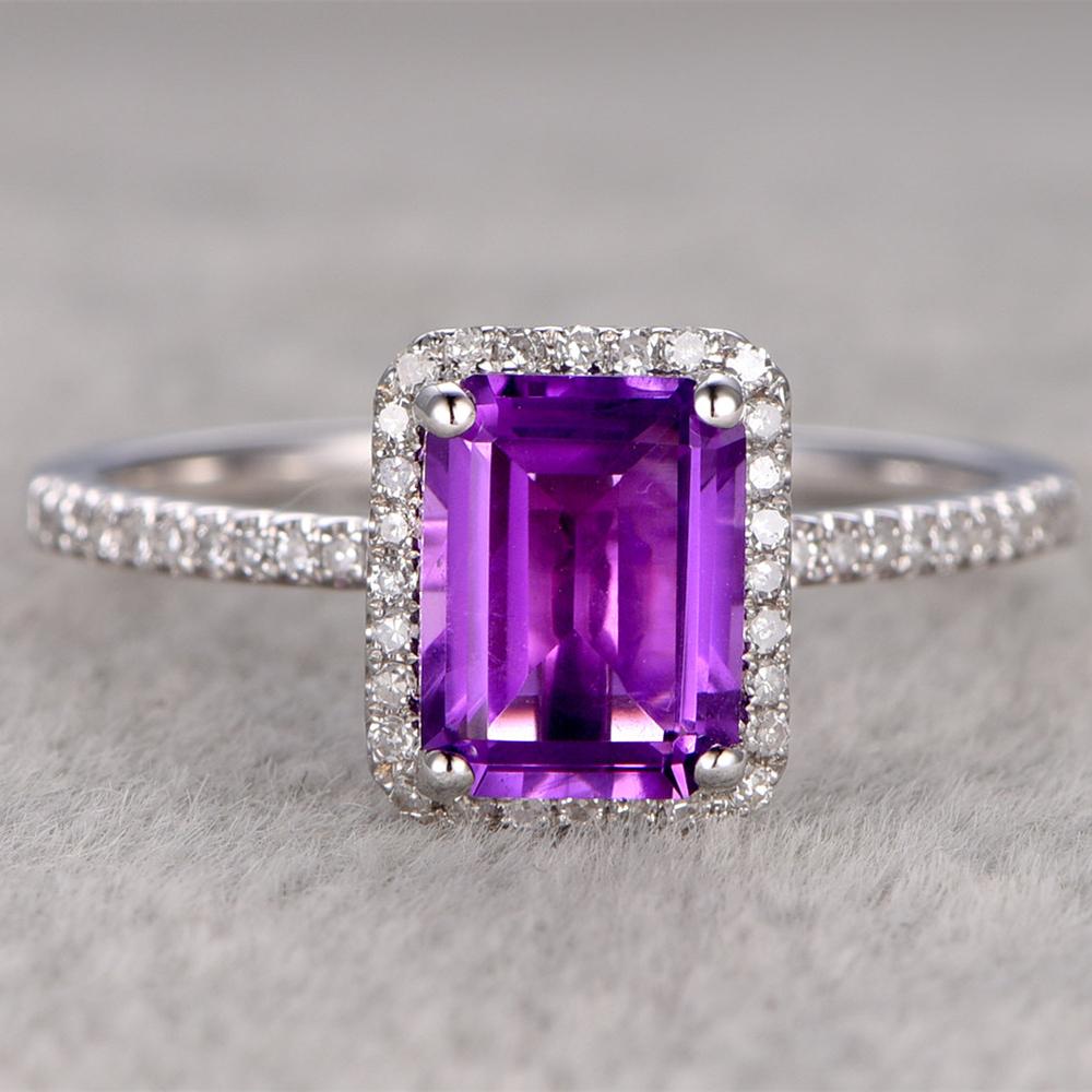 popular amethyst emerald cut engagement ring buy cheap