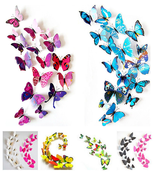 2015 New Gossip Girl Same Style 12pcs 3D Butterfly Wall Stickers Butterflies Decors For Home Fridage Decoration(China (Mainland))
