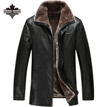 Winter Leather Jacket 2017 Men's Casual Fashion Jackets Lapel Black and Brown Zipper Faux Fur Men High Quality Coat 3XL 2XL(China (Mainland))