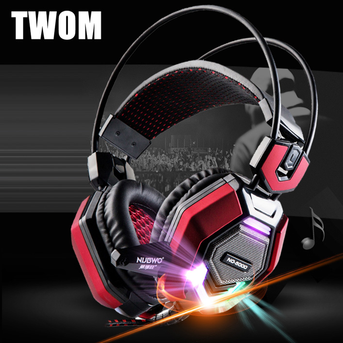 TWOM Computer Headband Gaming Luminous Headphones with HD Microphone for PC Subwoofer Big Headset Stereo Bass Earphone 50mm Unit(China (Mainland))