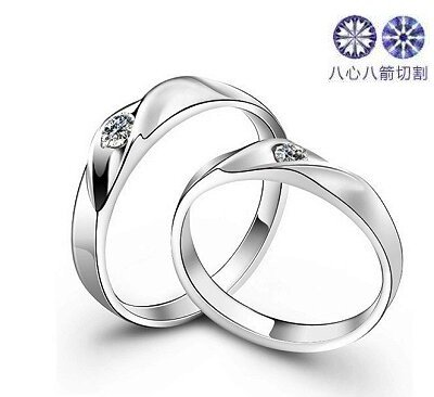 Free shiping!! SM0175,10pcs/lot, 925 silver inlay H&amp;A zircon lovers ring<br><br>Aliexpress