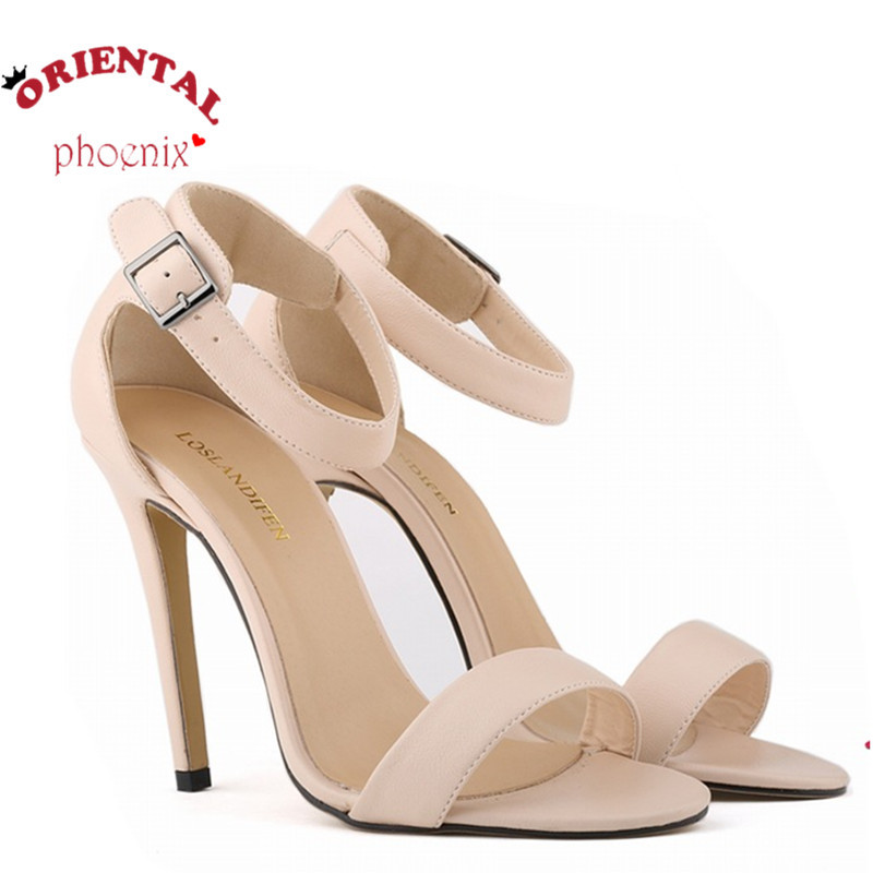 11cm high heel solid color ankle one belt European and American summer sandals sexy star style party pumps shoes concise