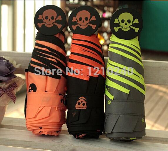 New Five Folding Candy Color Cute Skull Pattern Parasol Windproof Rain Umbrella Fashion Gift(China (Mainland))