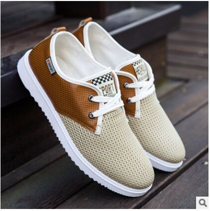 Large Size Eu 39-44 New Summer Fashion Mens Shoes Breathable Mesh Lace-up Patchwork Casual Flat  Shoes Grey/Khaki/Blue  <br><br>Aliexpress