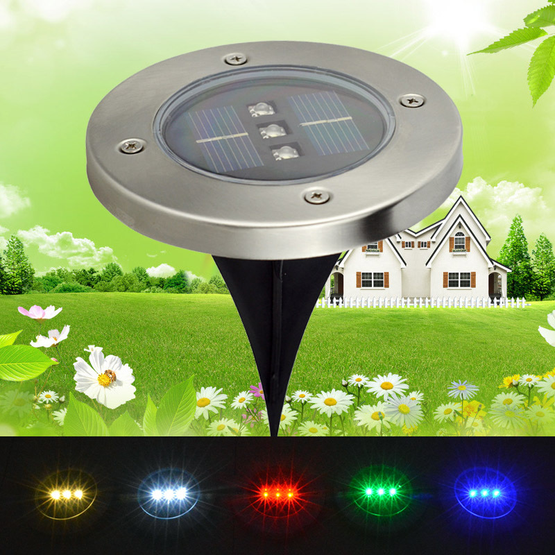 Solar Powered 3Led Waterproof Buried Light solar landscape Lighting Underground Light lamp Outdoor Solar lamp Garden decoration(China (Mainland))