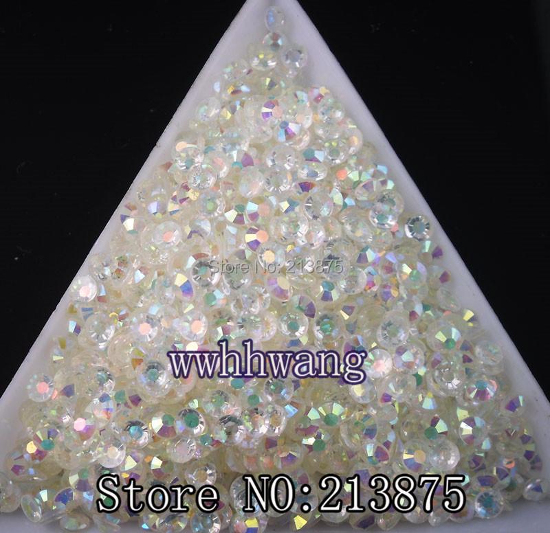 Free shipping 3D Nail Art Tips SS6 2mm Crystal white jelly resin crystal flat back rhinestone not hotfix nails 1000pcs(China (Mainland))