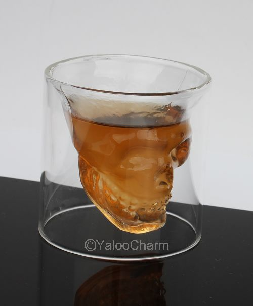 Free shipping 1pc Doomed Crystal Shot Glass Crystal Skull Head Vodka Shot Wine Novelty Cup 80017(China (Mainland))