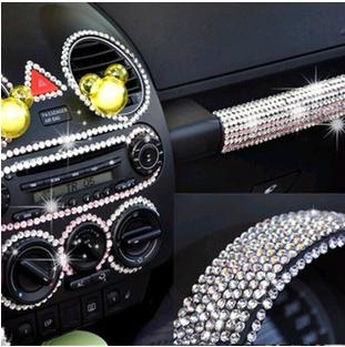 Crystal Diamond Car Decorative Stickers Fashion 3D Car Stickers DIY Car Interior Diamond Paste 200Pcs / Lot Free Shipping(China (Mainland))