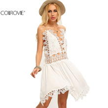 COLROVE Hollow Out Beige Spaghetti Strap Crochet Patchwork Asymmetrical Dresses Beach Sexy Women Summer Backless Dress(China (Mainland))