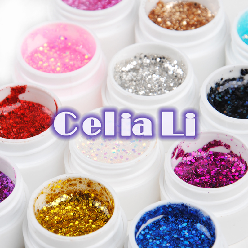 7 Days delivery USA Warehouse12 colors glitter UV gel Nail Art Gel Builder polish Free shipping(China (Mainland))