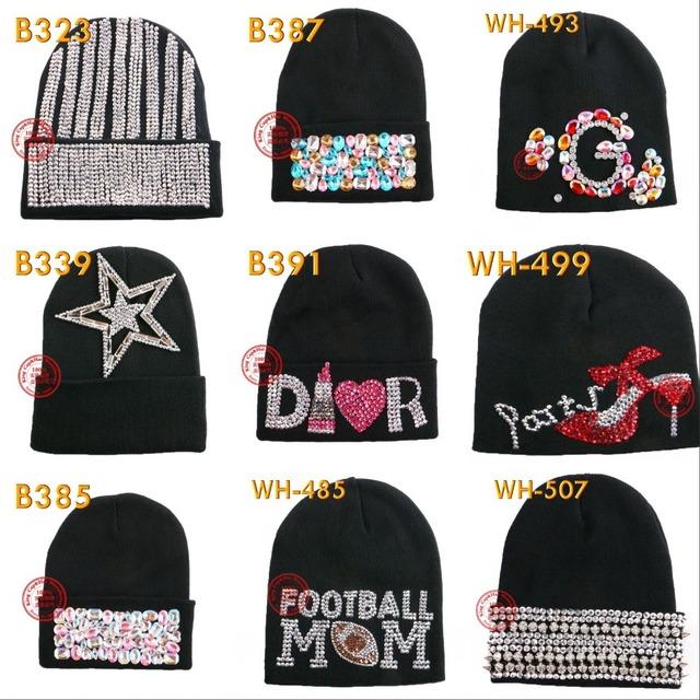 Оптовая женщины марка зимняя шапка новый дизайн хорошее качество цветной Письмо цветочные ...