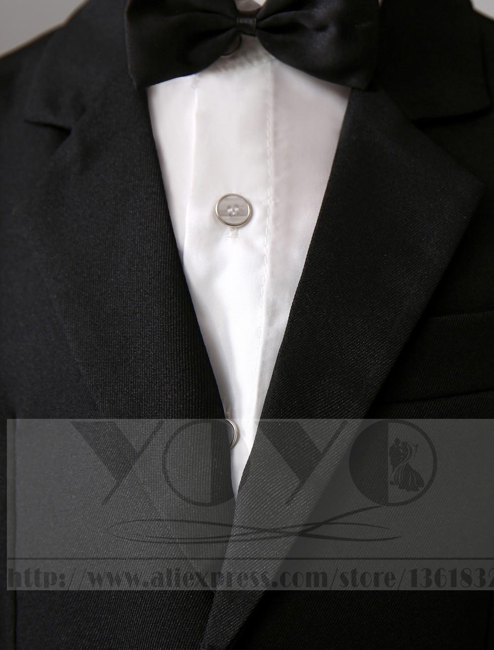 Скидки на Четыре Пьесы Роскошный формальные черные мальчики костюмы Кольцо На Предъявителя Костюмы дети Смокинг С Черным Галстуком-бабочкой мальчиков наряд костюмы