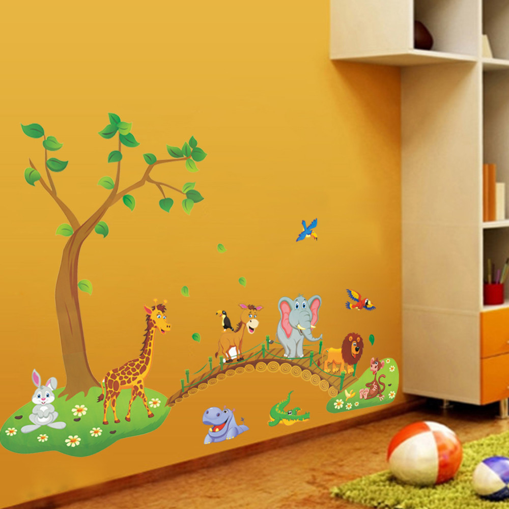 Cartoon Jungle wild animal wall stickers for kids rooms home decor ...