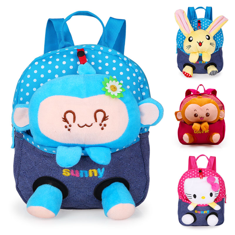Cartoon child school bag male female child baby bags plush doll backpack FREE SHIPPING(China (Mainland))