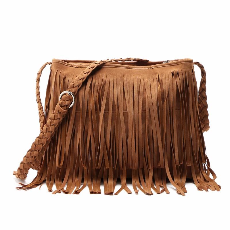 Hippie Suede Fringe Tassel Messenger Bag Women Hobo Shoulder Bags Crossbody Handbag (20)