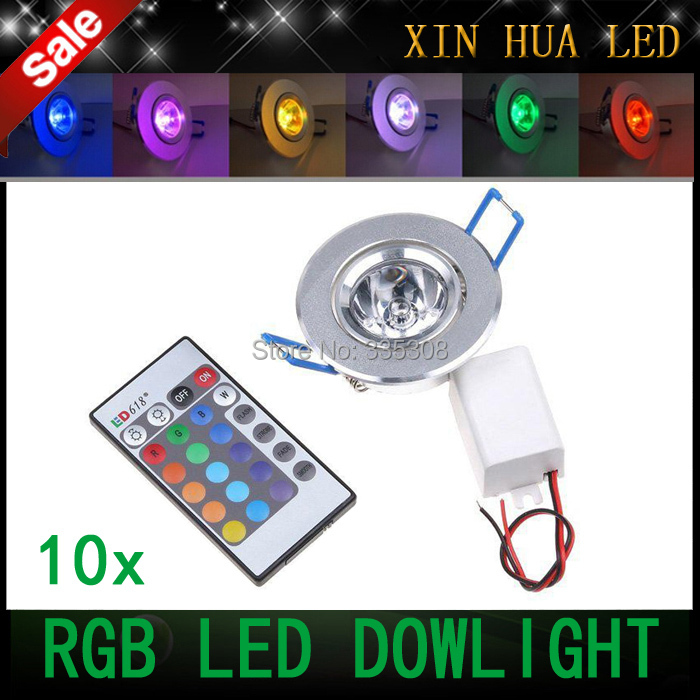 10pcs 9W LED RGB downlight 85V-265V led ceiling rgb bulbs recessed lighting for the house decoration with Remote Control(China (Mainland))