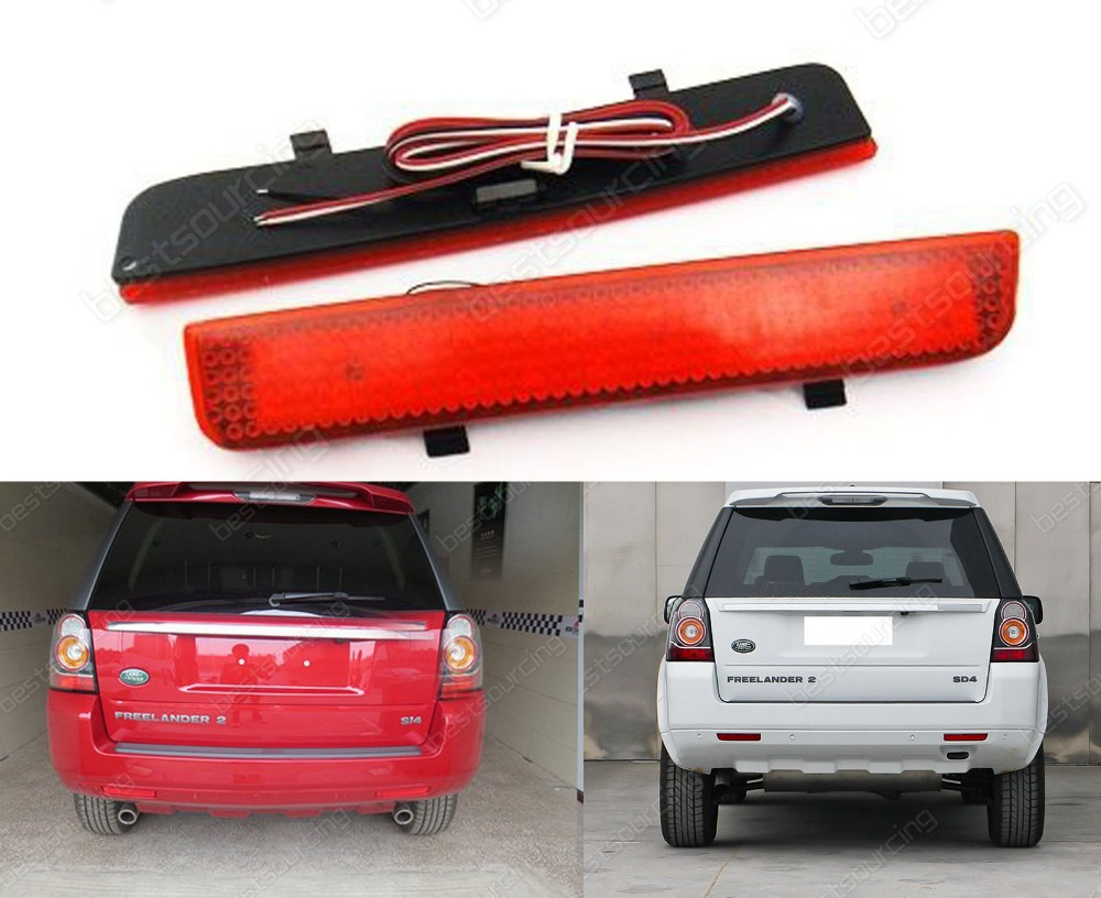 2x Range Rover L322 Freelander 2 Rear Bumper Reflector LED Brake Stop Light Red 2003-12 Rover Range Rover L322(CA186)(China (Mainland))