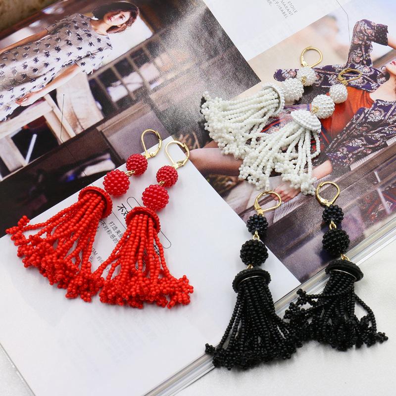 New Handmade Beaded retro earrings earrings women long fringed Red Fashion Earrings 0346(China (Mainland))