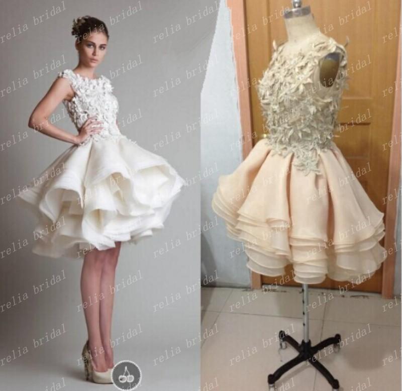 Rami kadi white crop top prom dress short ball gown for Rami kadi wedding dresses prices