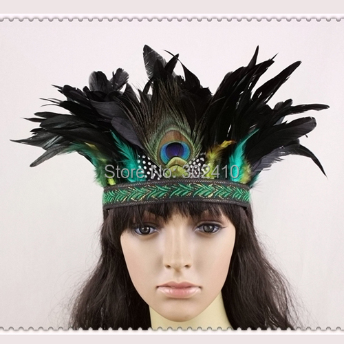 Free Shipping !!! FHB0119 Indiana Style Fashion Feather Hairband, Black&Green Hair accessoriest Performance Items(China (Mainland))
